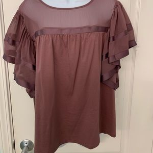 Express Tops - Wine colored short sleeve blouse